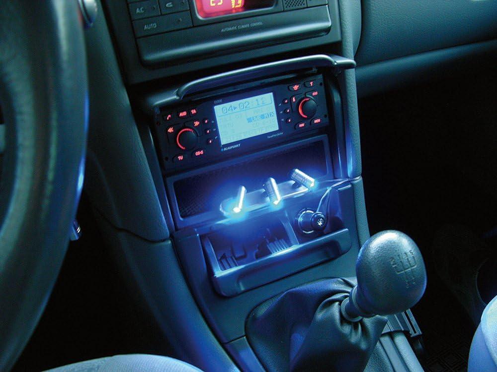 color azul 12 V Eufab 17234 Juego de luces LED con interruptor para salpicadero con conexi/ón al mechero