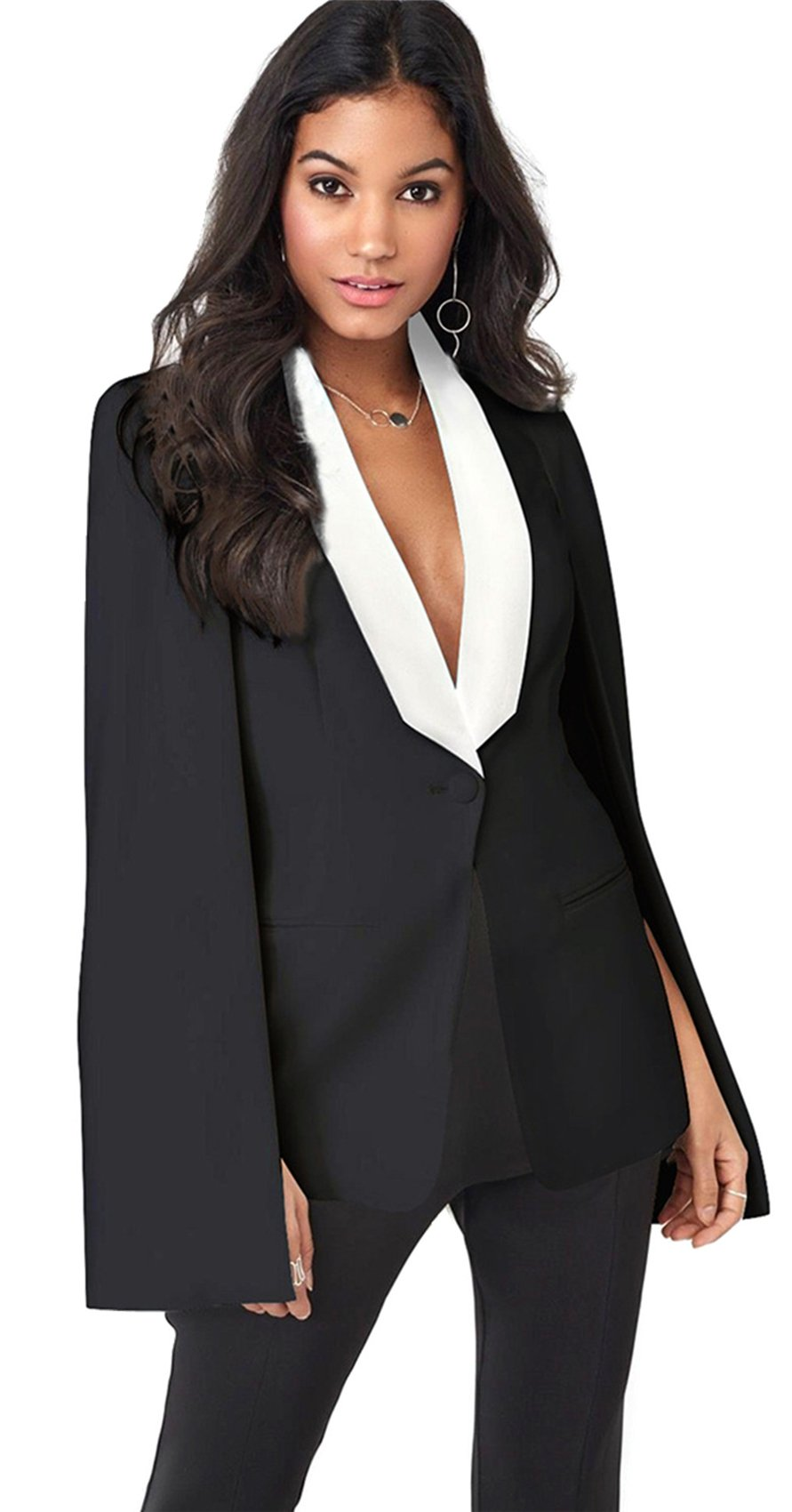 Cloak Poncho Cape Style Split Slit Long Sleeve Deep V Neck One Button Pocket Colorblock Blazer Jacket Top Black L by Arctic Cubic (Image #1)