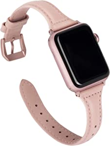 Wearlizer Thin Leather Rose Pink Compatible with Apple Watch Band 38mm 40mm Womens for iWatch SE, Top Grain Leather Slim Strap Cute Replacement Wristband (Rose Gold Buckle) Series 6 5 4 3 2 1 Sport