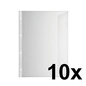 FALKEN Premium PP de plástico Fundas para documentos, DIN A4 transparente granulada lateral abierto con
