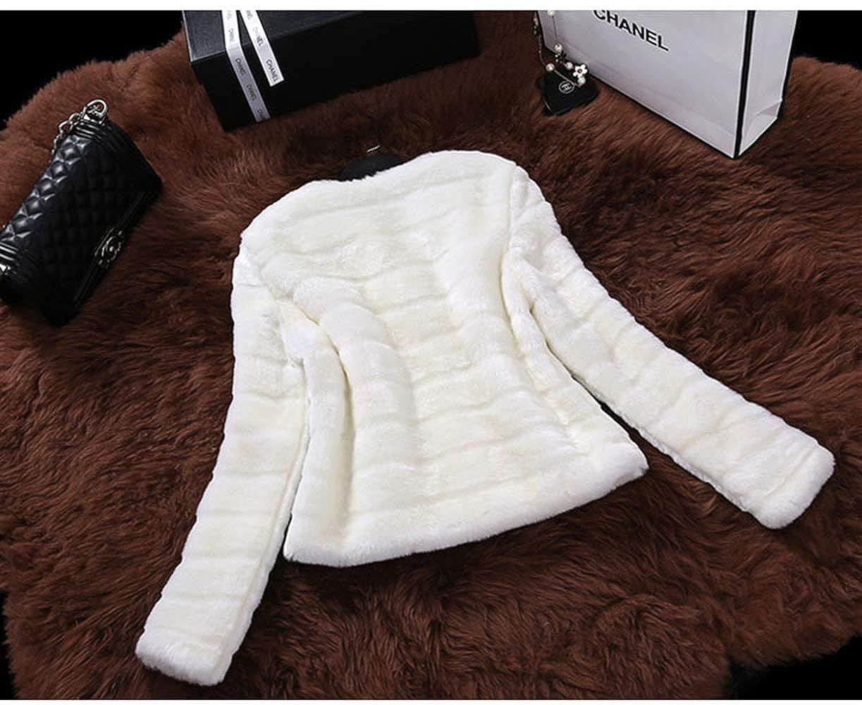 Kunstpelz Mantel Damen Langarm Rundhals Warm Verdicken Felljacke Herbst Perfect Pin-up Winter Fashion Elegante Casual Einfarbig Kurzmantel Pelzjacke Coat Style