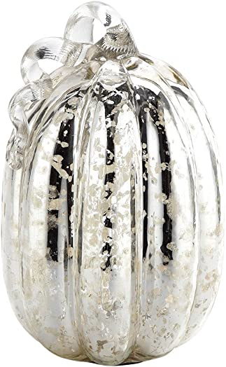 New Large 9 Hand Blown Mercury Glass Murano Art Style Silver Pumpkin Sculpture Fall
