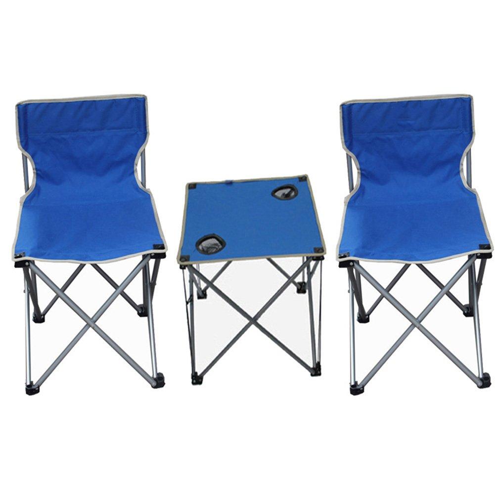 QIANGDA 屋外/アウトドア 折りたたみ テーブル椅子2脚付き ポータブル 軽量 鋼管 リムーバブル コートヤードローンガーデン、 3色 オプション ( 色 : 青 ) B07CN1STHG 青 青