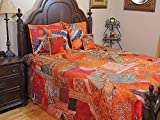 NovaHaat Orange Beautiful India Style Sari Bedding - Handmade 7 Piece Bedspread Shams Duvet Ensemble Set ~ King