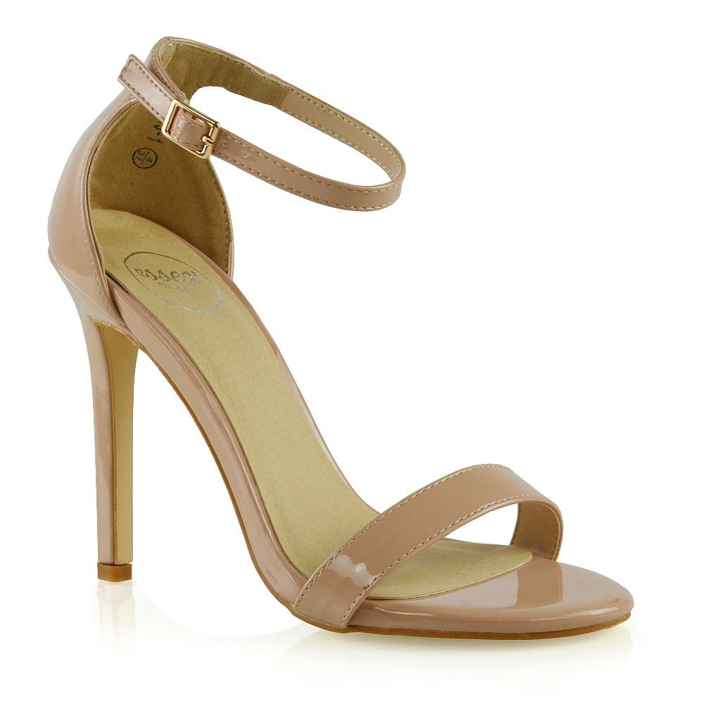 ESSEX GLAM Womens Stiletto High Heel Shoes Ladies Nude Patent Ankle Strap Peep Toe Party Sandals 8 B(M) US