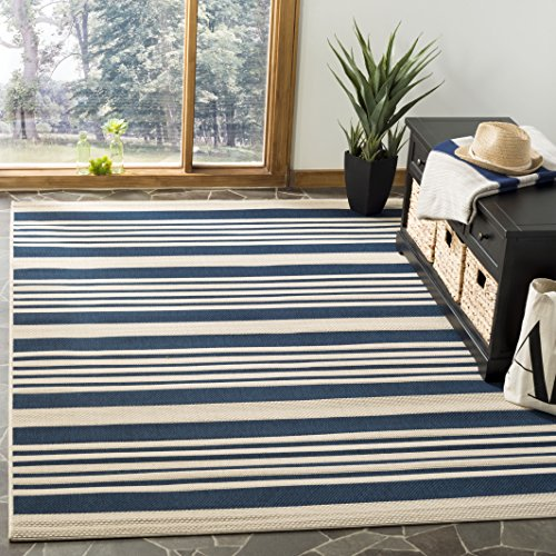 Safavieh Courtyard Collection CY6062-268 Navy and Beige Indoor/ Outdoor Area Rug (5'3