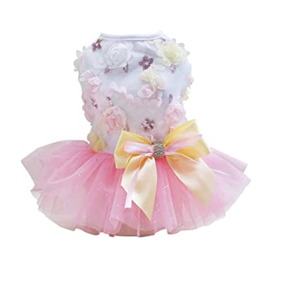 EFINNY Puppy Dogs Costume Summer 3D Floral Tulle Skirt Mini Dress