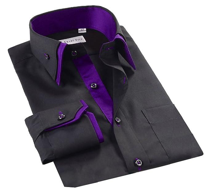 9d60b3f209e91 Lyon Becker Mens Designer Italian Slim Fit Formal Casual Shirts Long Sleeve  Size S M L XL  Amazon.co.uk  Clothing
