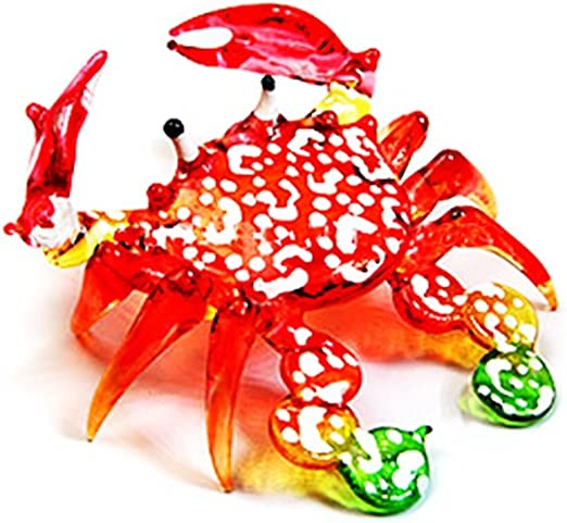 Small Green Glass Crab Figurine Hand Blown Glass Crab Art Handcrafted Glass