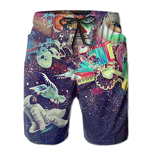 Tydo Trippy Gorgerous Space Men's Beach Shorts Casual Surfing Trunks Surf Board Pants With Pockets For Men L
