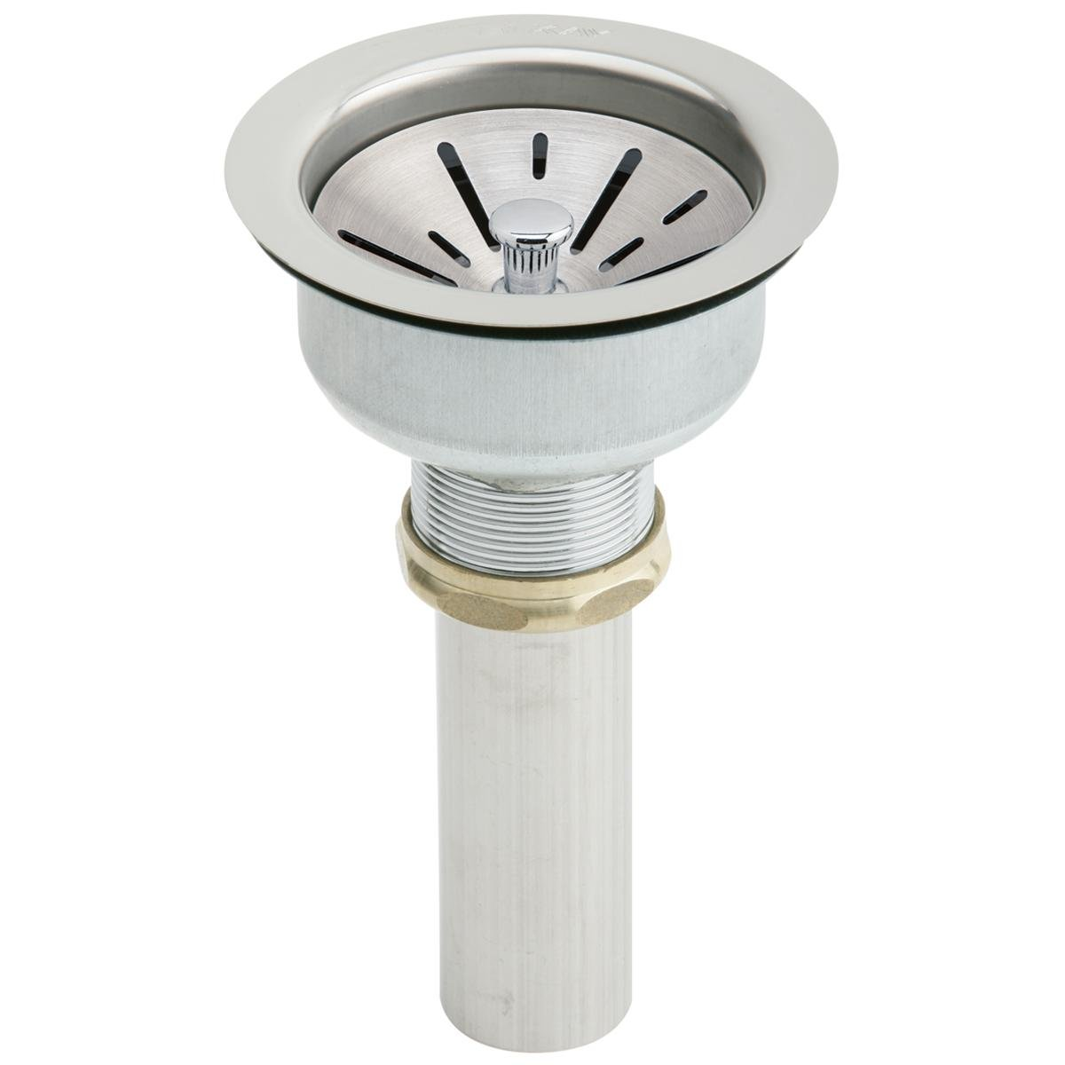 Elkay LK35B Type 304 Stainless Steel Drain with Strainer Basket, Rubber Seal, and Tailpiece
