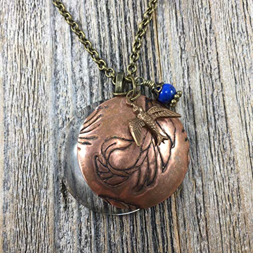 Magnifying Glass Necklace with Etched Copper, Brass Bird and Blue Bead