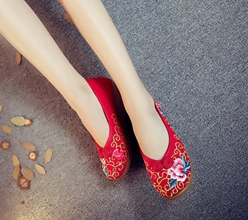Avacostume Femmes Or Motif Broderie Coin Talon Occasionnels Chaussures À Enfiler Rouges