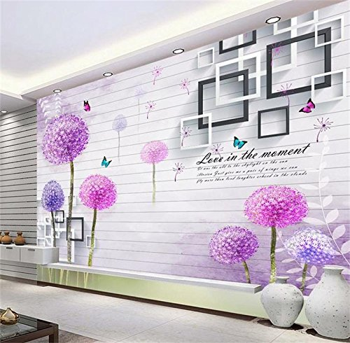 - 3D Wallpaper Custom Photo Non-Woven Mural Wall Sticker 3D Box Dandelion Butter Picture Sofa TV 3D Wall Room murals wallpaper-350X250CM