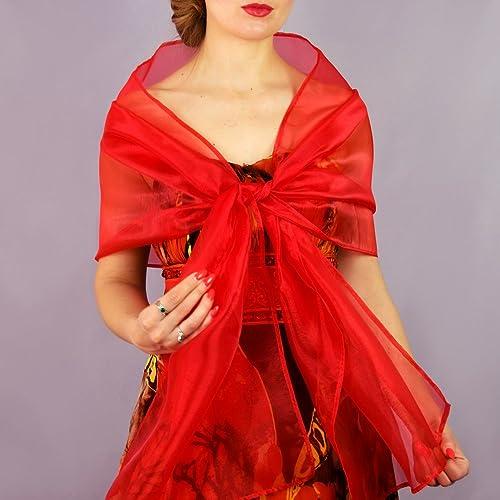 Chal organza color rojo novia boda novia para vestido de fiesta