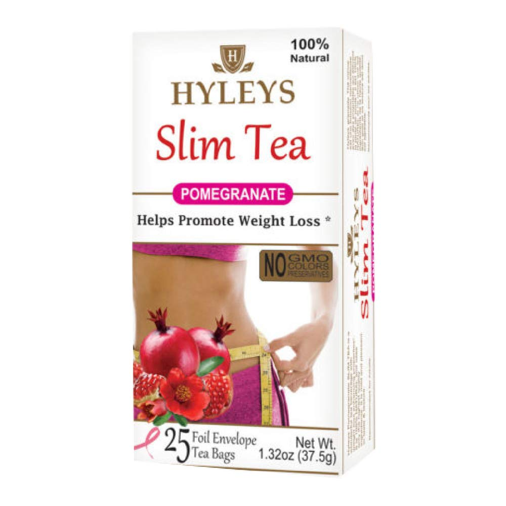 HYLEYS Slim Tea, Pomegranate, 25 Count (Pack of 12)