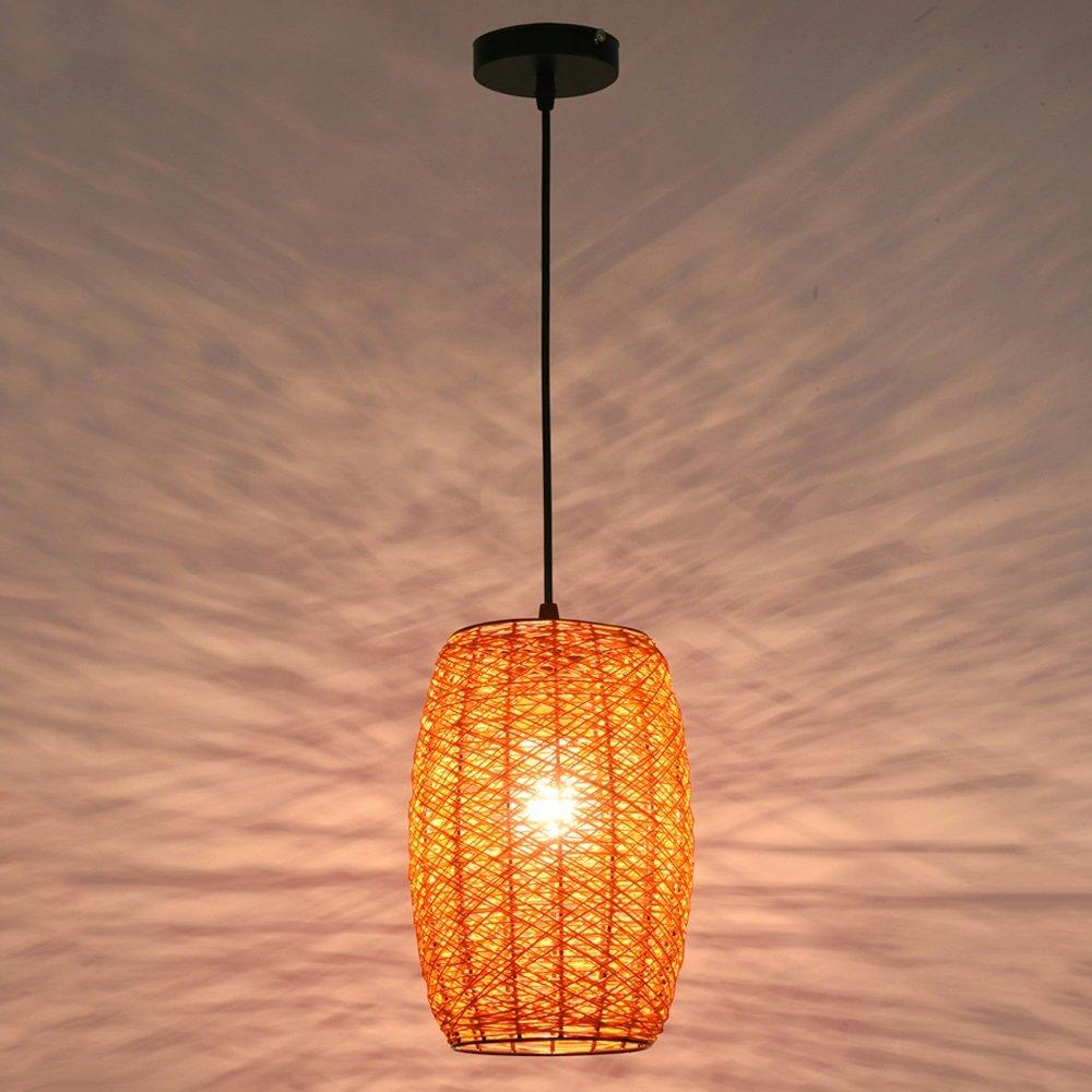 Kronleuchter, europäischer Stil LED Rattan Deckenleuchte Vintage Holz Esstisch Korridor Studie Hängelampe Postmodernes Schlafzimmer Wohnzimmer Bedside Small Kronleuchter (Color : Orange)
