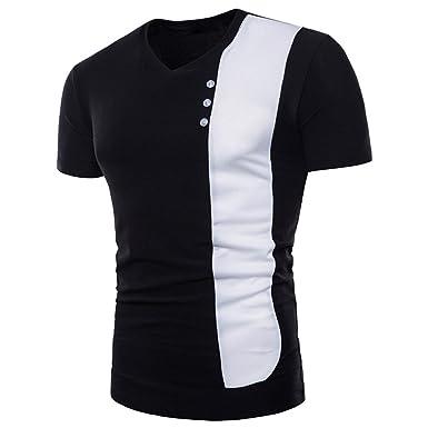 5e143096b Mens Casual Color Patchwork Short Sleeve Muscle Slim Fit Shirt Button Top( Black,M