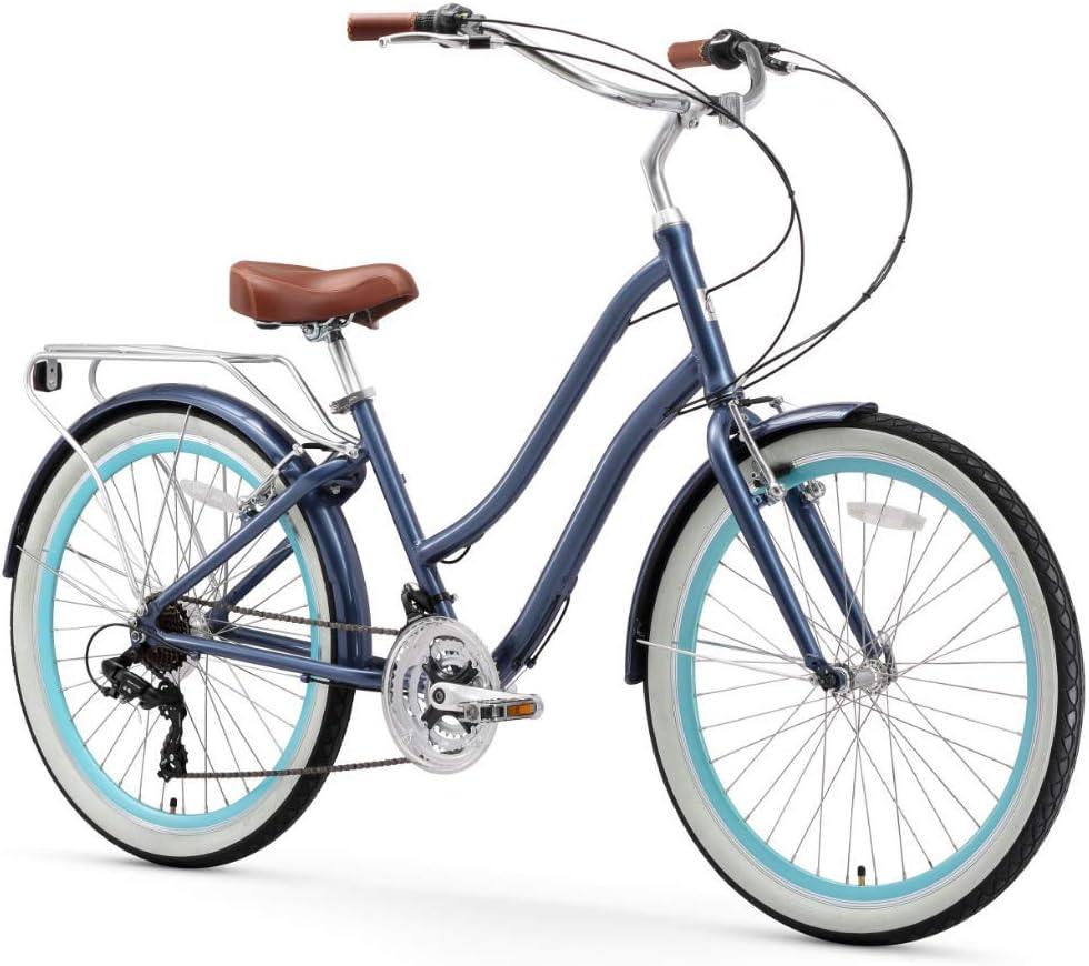 sixthreezero EVRYjourney Women's 21-Speed Step-Through Hybrid Cruiser Bicycle, 26