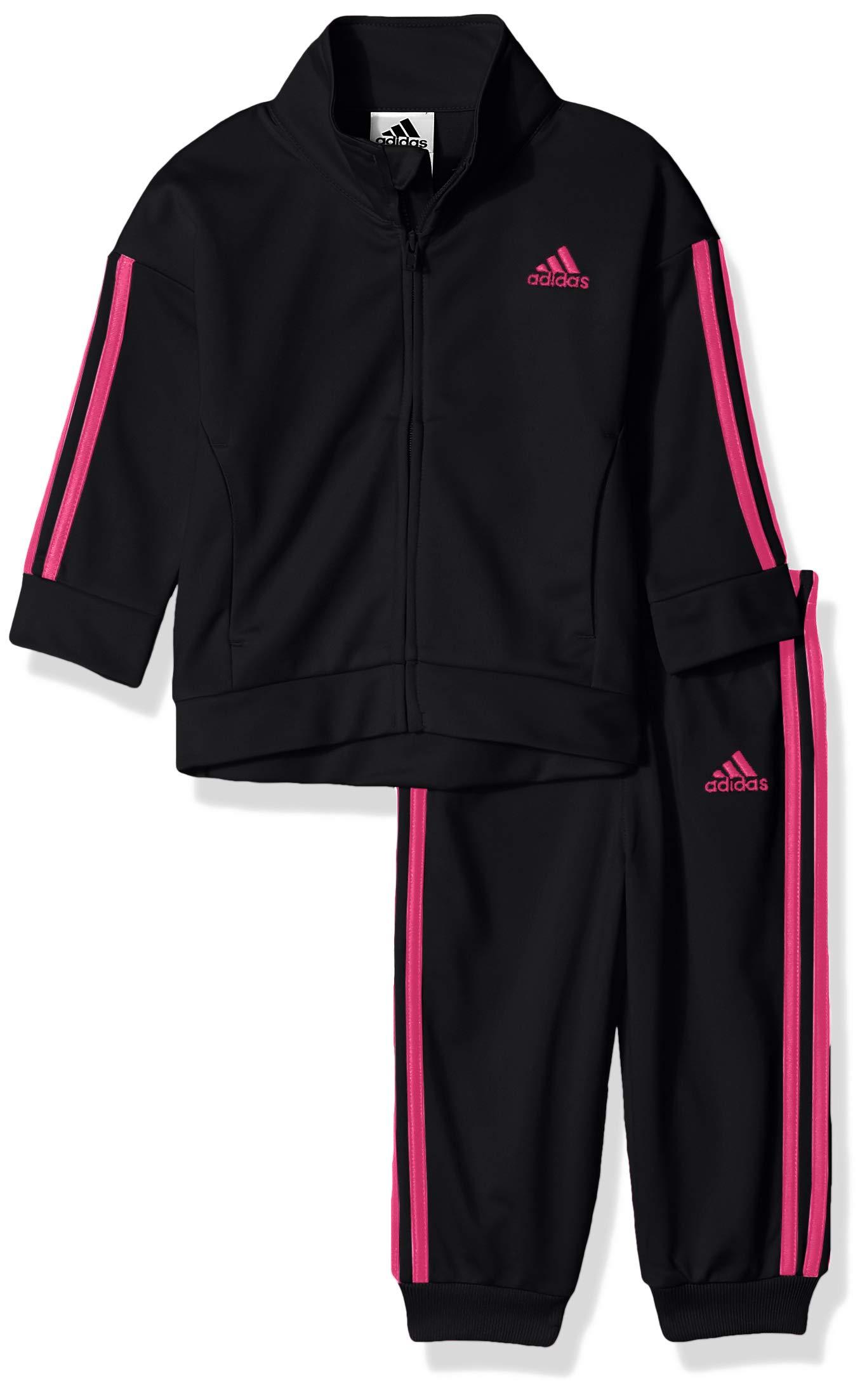 adidas Baby Girls Zip Jacket and Pant Set, Black, 12M