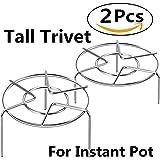 "3 7/8"" & 2 1/4"" Tall Steam Rack Stand, HULISEN Heavy Duty Stainless Steel Multifunction Basket, Pressure Cooker Rack (Tall Trivet)"
