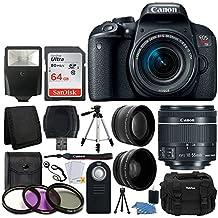 Canon EOS Rebel T7i 24.2MP Digital SLR Camera + EF-S 18-55mm f/4-5.6 is STM Lens + 64GB Memory Card + Wide Angle & Telephoto Lens + UV Filter Kit + DC59 Gadget Bag + Quality Tripod + Valued Bundle