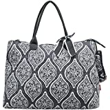 NGIL Quilted Cotton Extra Large Overnight School Tote Bag 2018 Spring Collection (Marquise in Bloom Grey)