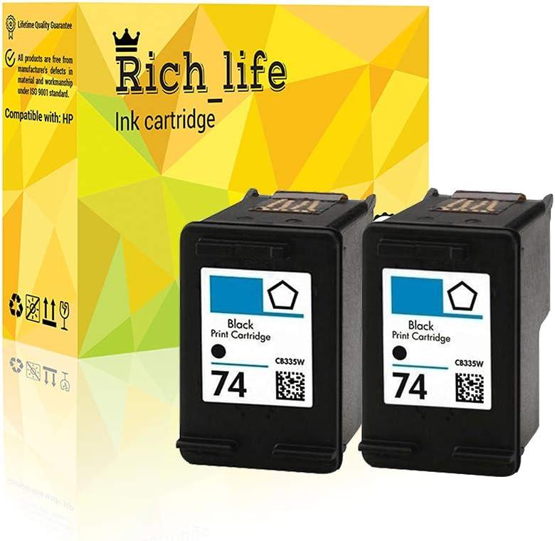 Rich/_life Remanufactured Ink Cartridge Replacement for HP74 HP 74 Black Inkjet Cartridges Compatible HP Printer Deskjet OfficeJet Photosmart 2 Pack Black