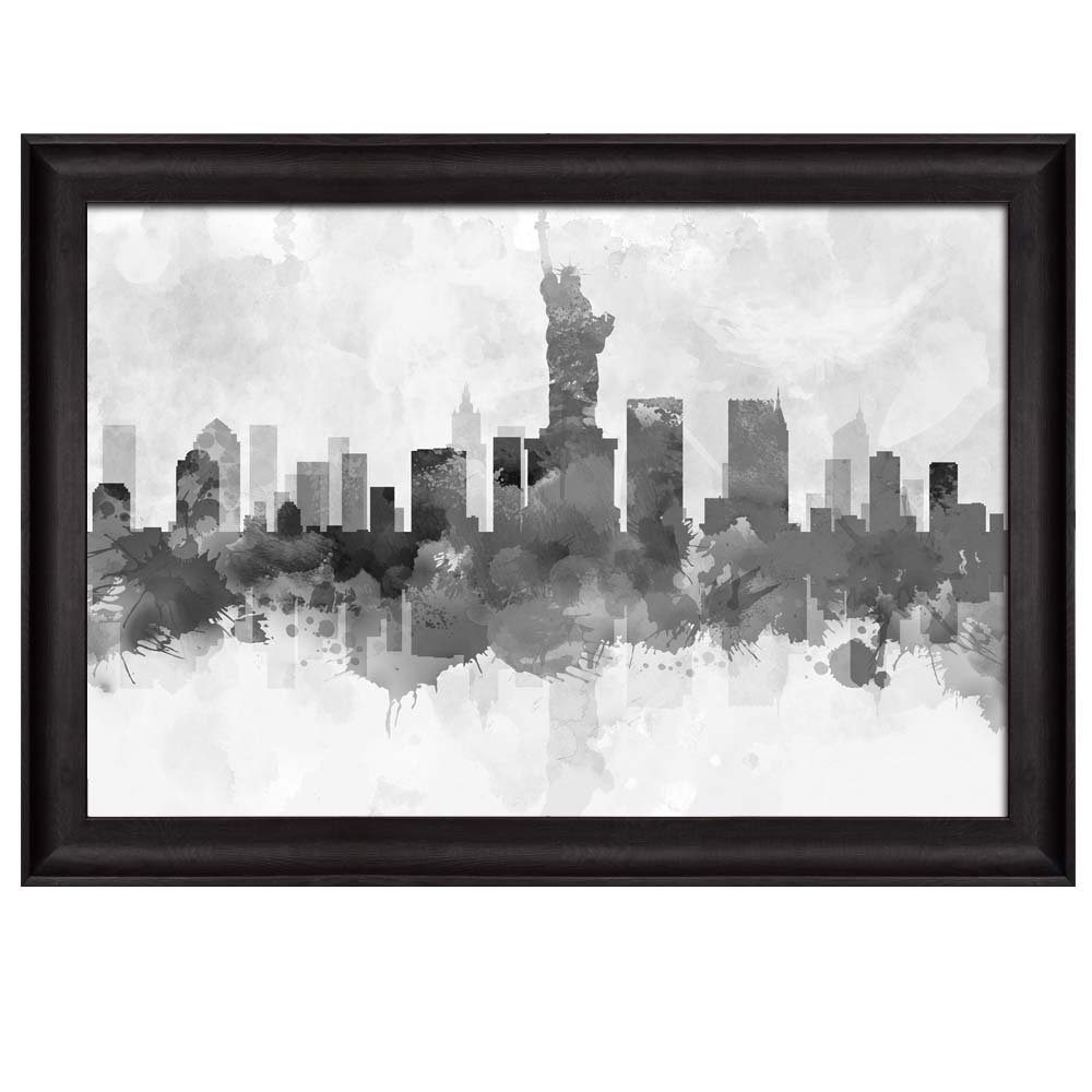 Black and White New York City Statue of Liberty with Watercolor ...