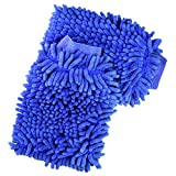 #10: Jmkcoz 2 Pack Microfiber Car Wash Mitt Chenille Mitt Gloves Cleaning Cloth Car Wash Mop for Car Cleaning, Blue
