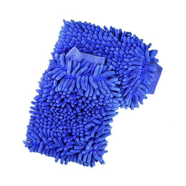 Jmkcoz 2 Pack Microfiber Car Wash Mitt Chenille Mitt Gloves Cleaning Cloth Car Wash Mop For Car Cleaning, Blue