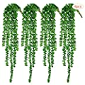 "CEWOR 4pcs Artificial Succulents Hanging Plants Fake String of Pearls (15.7"" Each Length)"