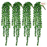 CEWOR 4pcs Artificial Succulents Hanging Plants Fake String of Pearls (15.7'' Each Length)