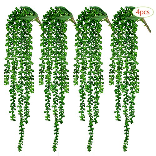 CEWOR 4pcs Artificial Succulents Hanging Plants Fake String of Pearls (15.7'' Each Length) by CEWOR