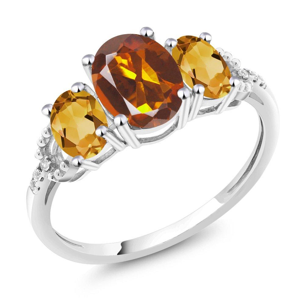 10K White gold Diamond Accent ThreeStone Engagement Ring set with 1.95 Ct orange Red Madeira Citrine Yellow Citrine