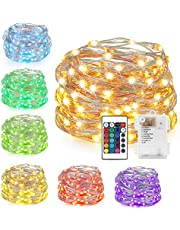 LED String Lights,Battery Powered Multi Color Changing String Lights with Remote,50 LEDs Indoor Decorative Silver Wire Lights for Bedroom,Patio,Outdoor Garden,Stroller,Christmas Tree 16ft