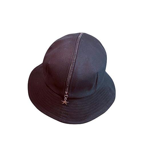 Vertily Zipper Wide Brim Beach Collapsible Sun Hat Men Women Flatbrim Sun  Cap (Black) aff479c7085