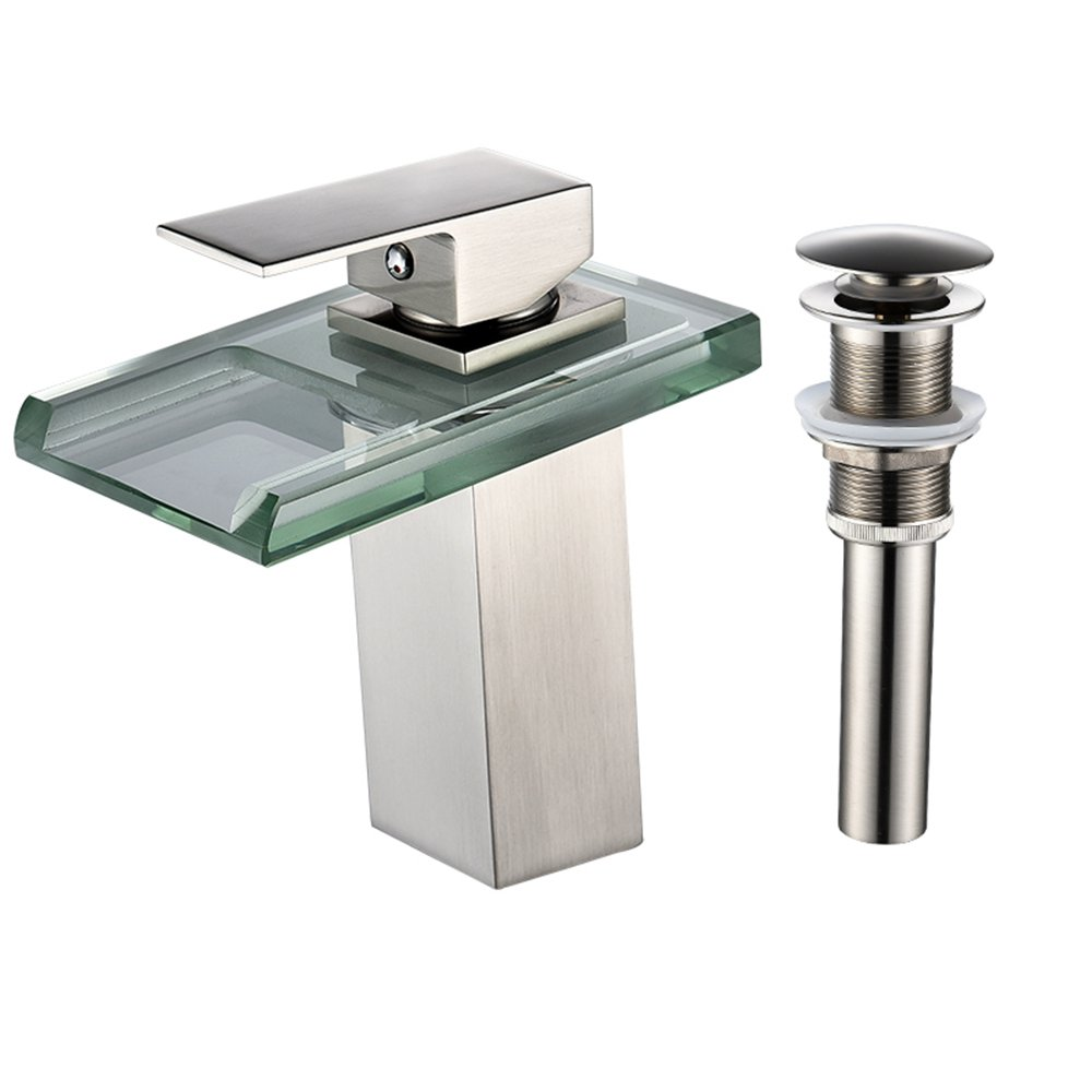 LightInTheBox Single Handle One Hole Bathroom Sink Faucet Set Wide Spout Waterfall LED Nickel Brushed Bathroom Basin Mix Taps with Pop Up Drain,Ceramic Valve