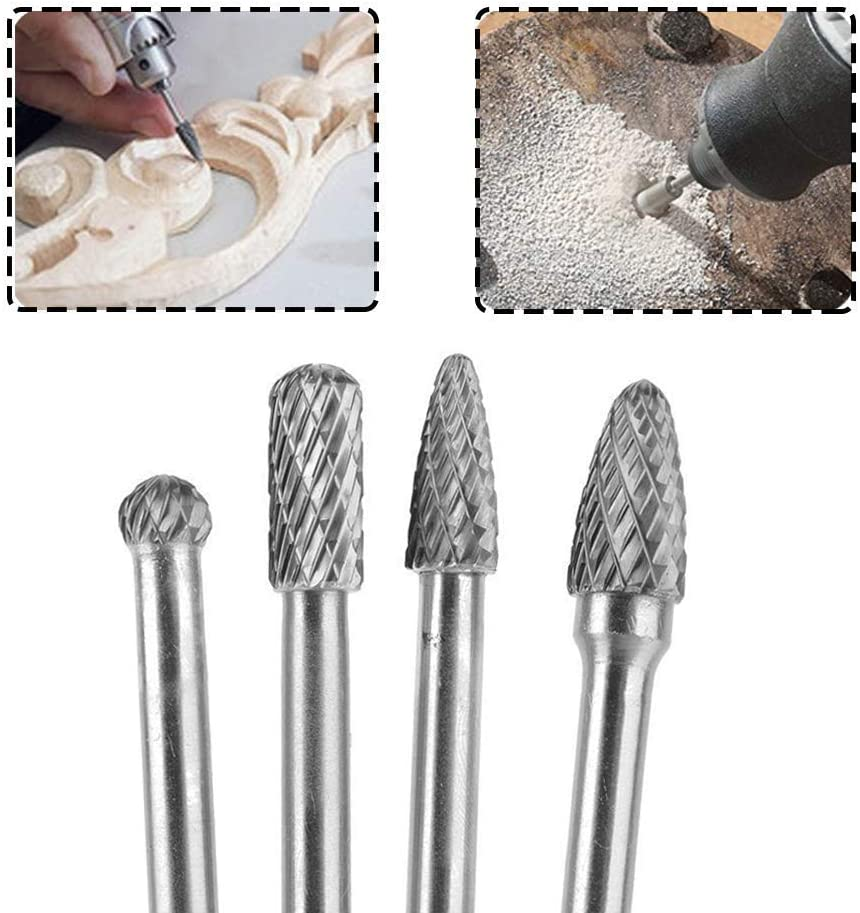 """Bestgle 4Pcs 6mm Drilling 1//4/"""" 150-160mm Length Engraving Shank Tungsten Carbide Rotary Cutting Burr Die Grinder Bit for DIY Woodworking Polishing Metal Carving"""