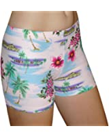 Tuga Juniors'/Women's Spandex Shorts, 4 Inch Inseam, Tropical Print