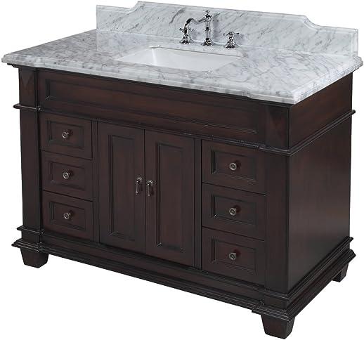 Elizabeth 48-inch Bathroom Vanity Carrara Chocolate Includes Chocolate Cabinet with Authentic Italian Carrara Marble Countertop and White Ceramic Sink