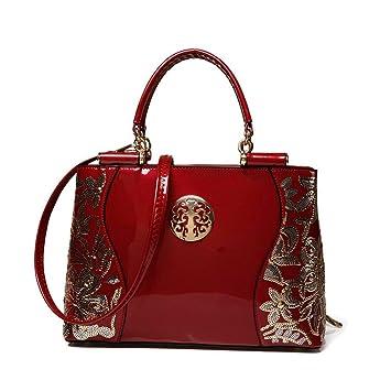 a701bd81b8fb3 OUMIZHI® Frauen Beutel Sequin Ketten Luxus Leder Handtasche Tasche Burgund