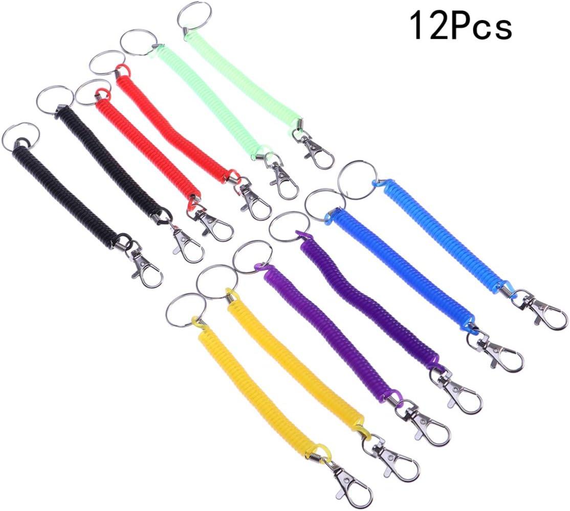 VORCOOL 12pcs espirales de Primavera de Llavero Stretchy Espiral retráctil Keychain Bunter plástico Soporte para Llaves con Metal Cinturón de Clip