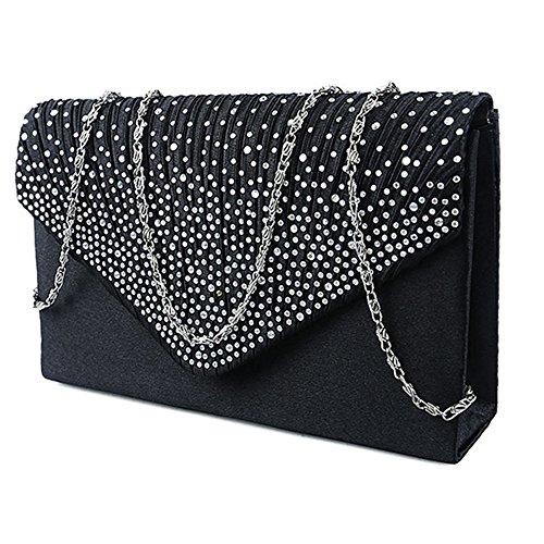 Evening Envelope Bag Clutch Shoulder Black Women Party Bags Handbag Diamante for q5Xt5xP