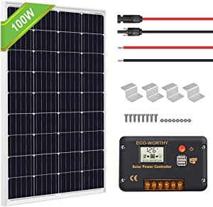 ECO-WORTHY 100 Watts Solar Panel Off Gird RV Boat Kit :100W Mono Solar Panel