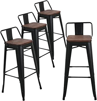 Amazon Com Andeworld Metal Bar Stools Counter Height Stool Industrial Kitchen Barstools Set Of 4 30 Inch Black With Wooden Seats Furniture Decor