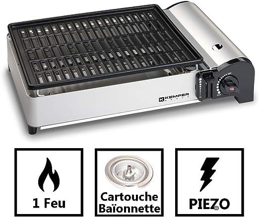 29€70 sur Barbecue gaz portable 1.9 KW Kemper grille anti