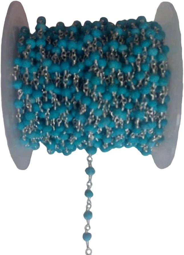 Cadena de cuentas de turquesa – cadena de rosario – semipreciosa cadena de cuentas de piedras preciosas – turquesa 3 – 4 mm cadena de cuentas chapada en plata
