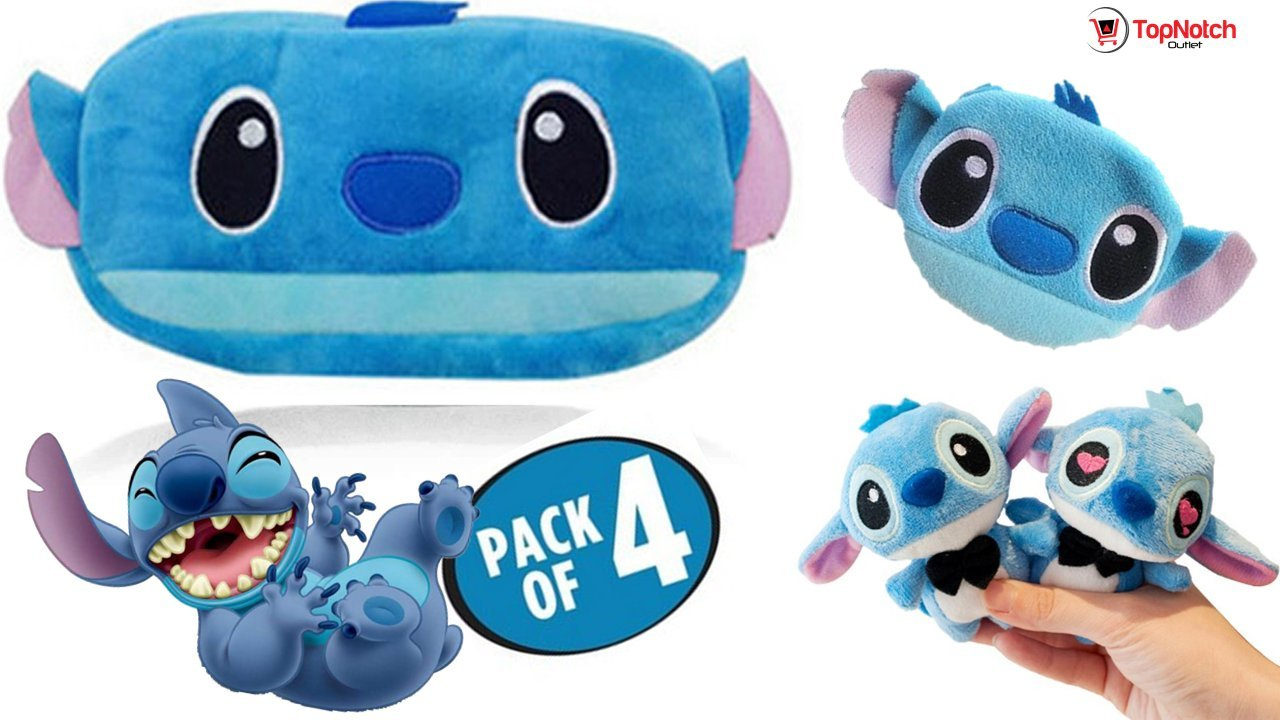 Pencil Pouch - Stitch Pencil Case - Change Purse (4 Pack) Kids Call This the Stitch Survival Kit - Plush Keychain - Plush Pencil Case