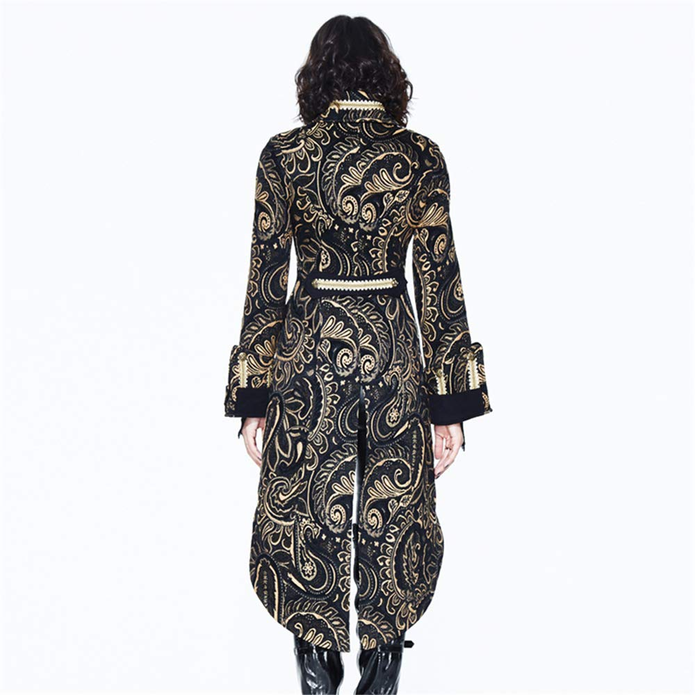 c16fbc8b1ba Gothic Women Palace Jackets Gold Black Vintage Embroidered Stand Collar  Long Coats at Amazon Women s Coats Shop